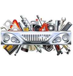 front car part with car spares vector image