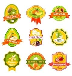 Fuits emblem labels set color vector