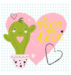 funny valentines day background with cactus vector image