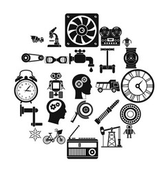 gear icons set simple style vector image