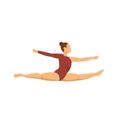 Girl gymnastics jump icon flat style vector