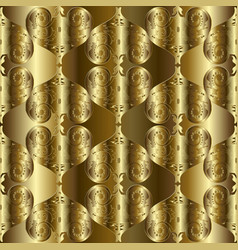 gold 3d textured baroque seamless pattern vector image