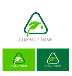 green leaf sign company logo vector image