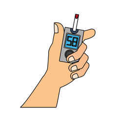 Hand holding glucometer vector