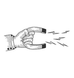 hand with magnet sketch engraving vector image