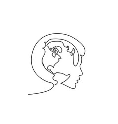Happy woman holding globe in her head peace vector