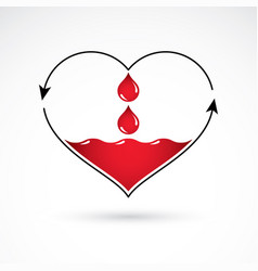 Heart shape with arrows and drops of blood blood vector