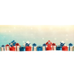 Holiday Christmas background with a border of gift vector