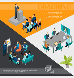 isometric business coaching colorful template vector image