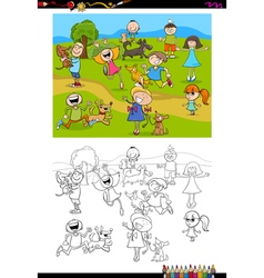 kids and dogs coloring book vector image