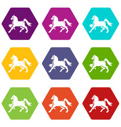 knight horse mascot icons set 9 vector image