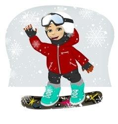 little cute male snowboarder at ski resort vector image