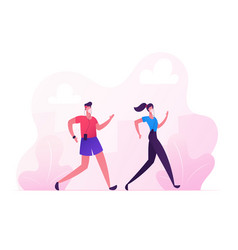Man and woman characters in medical masks running vector