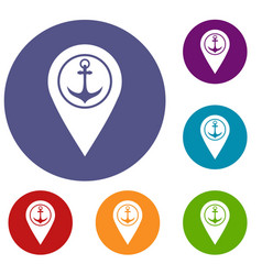 map pointer with symbol anchor and sea port icons vector image