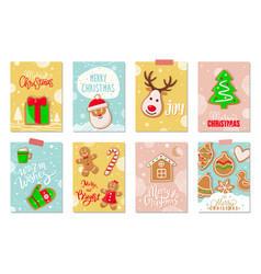 merry christmas winter holiday greeting cookies vector image