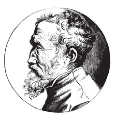 Michelangelo profile portrait vintage vector