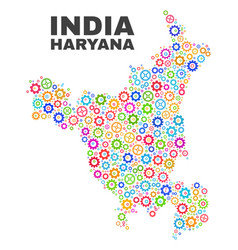 Mosaic haryana state map of gear items vector