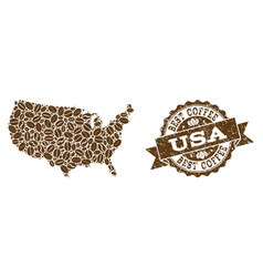 mosaic map of usa with coffee beans and scratched vector image