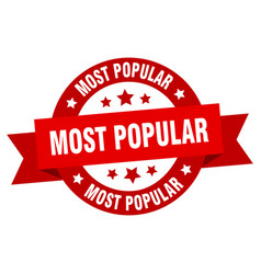 most popular ribbon most popular round red sign vector image