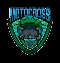 motocross helmet simple logo design vector image