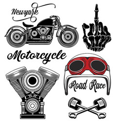 Motorcycle typography set t-shirt graphics vector