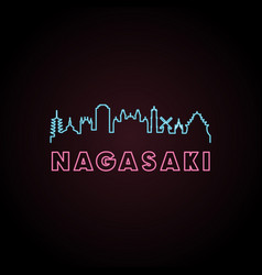 Nagasaki skyline neon style in editable file vector