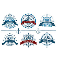 nautical logos set vector image