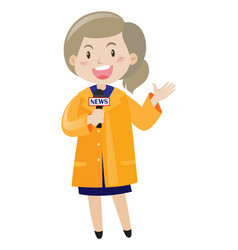 News reporter with microphone vector