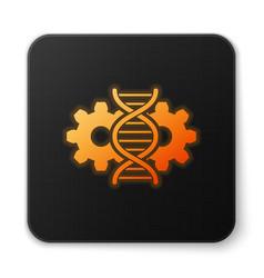 Orange glowing gene editing icon isolated on white vector