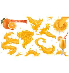 Orange paint splash mango pineapple papaya juice vector