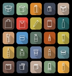 Packaging line flat icons with long shadow vector image