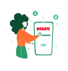 People make online donations flat vector