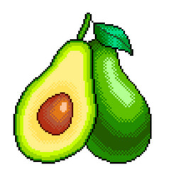 Pixel avocado and slice detailed isolated vector