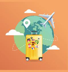 plane flying around world with yellow luggage vector image