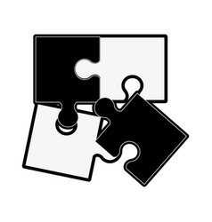Puzzle pieces separated icon image vector