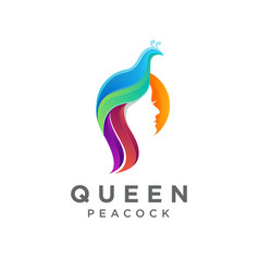 queen peacock logo icon with gradient style vector image