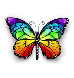 Rainbow monarch butterfly vector