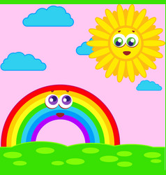 Rainbow smiles in the clouds vector