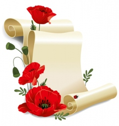 roll of old paper and poppies vector image
