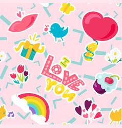 Romantic love seamless pattern vector