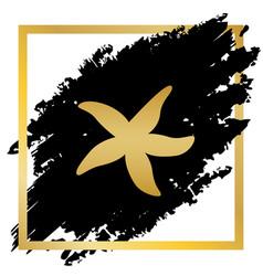 sea star sign golden icon at black spot vector image
