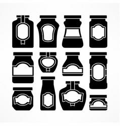 Set glass jars in black vector