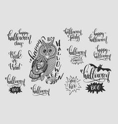 Set happy halloween hand lettering phrases vector