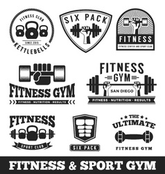 Set of fitness gym and sport club logo vector image