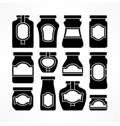 set of glass jars in black vector image