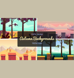 Set of seamless cartoon autumn landscape simple vector