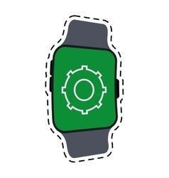 Smart watch gear wearable technology line vector