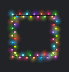 Square colored glowing garland vector