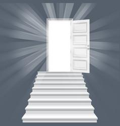 Straight stairway leading to open door vector