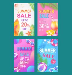 Summer sale save money set vector